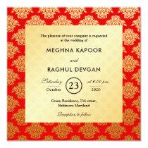 Elegant Red Gold Damask Pattern Indian Wedding Invitation