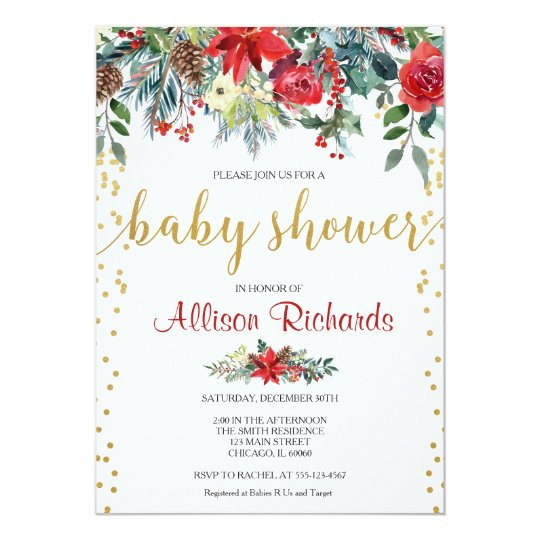 Elegant Red Gold Fl Christmas Baby Shower Invitation