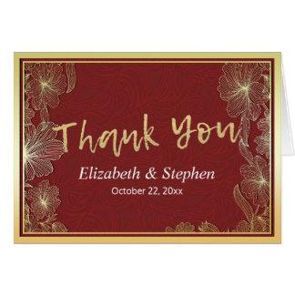 Elegant Red & Gold Floral Frame Wedding Thank You Card