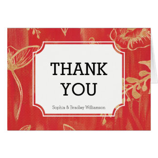Elegant Red Gold Floral Thank you Card