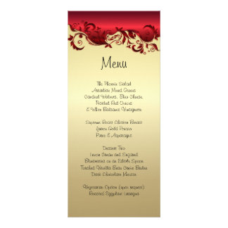 Elegant Red & Gold Florid Wedding Design Rack Card