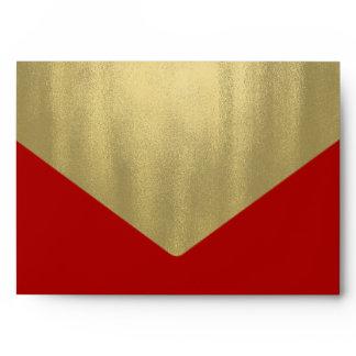 Elegant Red Gold Foil Envelope