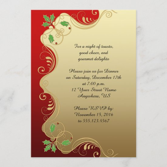 Elegant Red Gold Green Holly Christmas Party Invitation