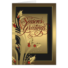Elegant Red Gold Holly Christian Christmas Card at Zazzle