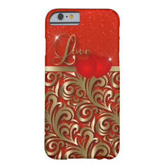 Elegant Red & Gold Love Barely There iPhone 6 Case