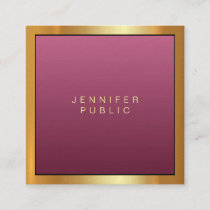 Elegant Red Gold Modern Professional Artistic Luxe Square Business Card