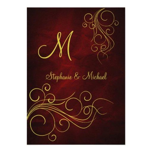 Elegant Red Gold Monogram Wedding Invitation