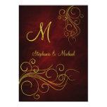 "Elegant Red Gold Monogram Wedding Invitation 5"" X 7"" Invitation Card"