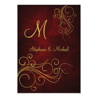 "Elegant Red Gold Monogram Wedding Invitation 5"" X 7"" Invitation Card"