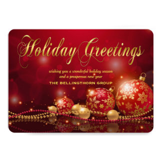 Elegant Red Gold Ornament Corporate Christmas Card