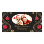 Elegant Red & Gold Ornaments Christmas Photo Card.