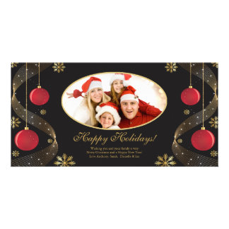 Elegant Red & Gold Ornaments Christmas Photo Card. Card