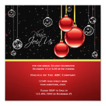 Elegant Red Gold Ornaments on Black Party Invite