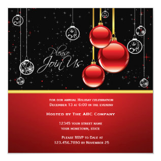 Elegant Red Gold Ornaments On Black Party Invite at Zazzle