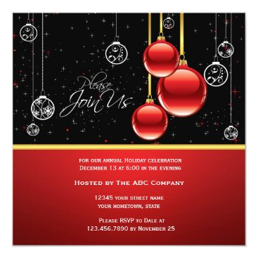 Professional Business Elegant Red Gold Ornaments on Black Party Invite