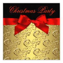 Elegant Red Gold Swirl Bow Christmas Party Invitation