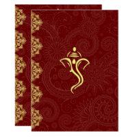 Elegant Red & Gold Vinayaka Wedding Design Invitation