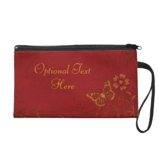 Elegant Red & Gold Vintage Butterflies Wristlet Clutches