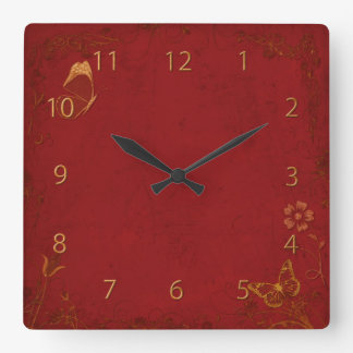 Elegant Red & Gold Vintage Butterflies Square Wall Clock