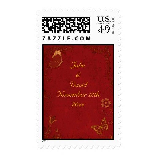 Elegant Red & Gold Vintage Butterflies Stamps