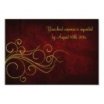 Elegant Red Gold Wedding 3.5x5 Paper Invitation Card