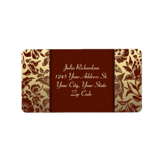 elegant red golden wedding address labels