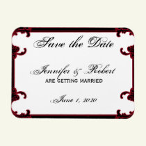 Elegant Red Gothic Frame Save the Date Magnet