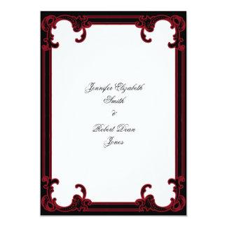 Elegant Red Gothic Frame Wedding Invitation
