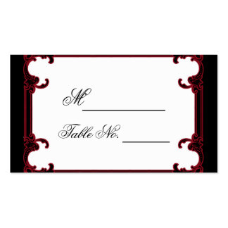 Elegant Red Gothic Frame Wedding Place Card