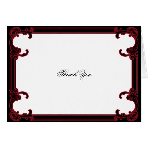 Elegant Red Gothic Frame Wedding Thank You Card Zazzle