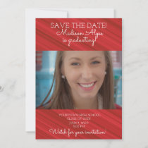 Elegant Red Graduation Save Date Photo Save The Date
