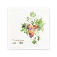 Elegant Red Grapes Watercolor Paper Napkins