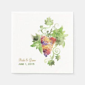 Elegant Red Grapes Watercolor Paper Napkins