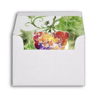 Elegant Red Grapes Watercolor RSVP Envelopes