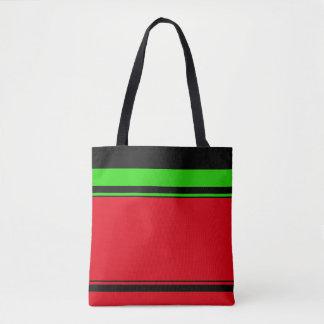 Elegant Red Green Black Stripe Holiday Specific Tote Bag
