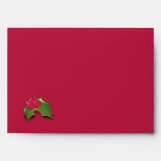 Elegant Red & Green Christmas Card Custom Envelope