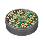 Elegant red green Christmas pattern Jelly Belly Candy Tin