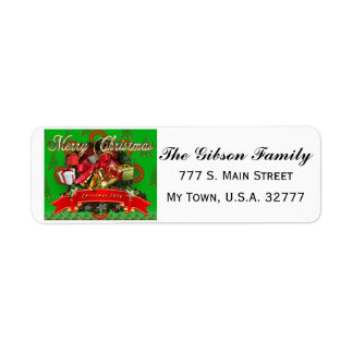 Elegant Red Green Christmas Wreath address labels