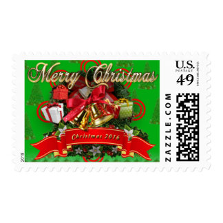 Elegant Red Green Christmas Wreath Holiday Stamps