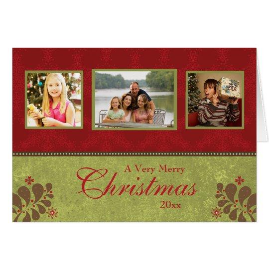 Elegant red green custom 3 photo christmas card