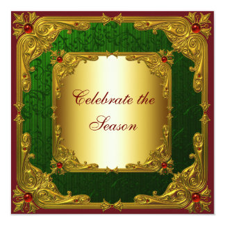 Elegant Red Green Gold Christmas Party Card