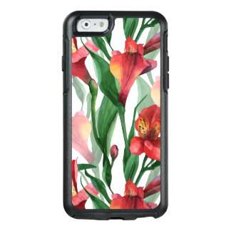 Elegant Red & Green Lily Illustration Pattern OtterBox iPhone 6/6s Case
