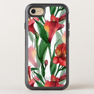 Elegant Red & Green Lily Illustration Pattern OtterBox Symmetry iPhone 7 Case