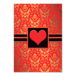 "Elegant Red Heart Damask RSVP Response Cards 3.5"" X 5"" Invitation Card"