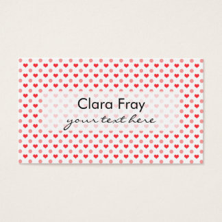 elegant red hearts and pink polka dots pattern business card