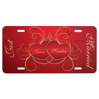 Elegant Red Hearts - Just Married License Plate License Plate