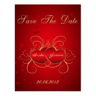 Elegant Red Hearts - Save The Date Postcard