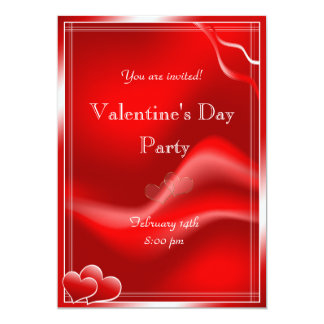 "Elegant Red hearts Valentine's Day Party 5"" X 7"" Invitation Card"