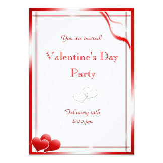 """Elegant Red hearts Valentine's Day Party 5"""" X 7"""" Invitation Card"""