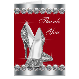 Elegant Red High Heel Shoe Thank You Cards Note Card